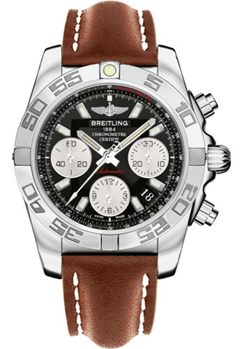 Breitling Watches - Chronomat 41 Steel Polished Bezel - Leather Strap - Tang - Style No: AB014012/BA52-leather-gold-tang