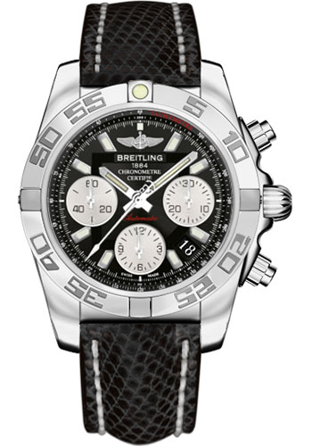 Breitling Watches - Chronomat 41 Steel Polished Bezel - Lizard Strap - Deployant - Style No: AB014012/BA52-lizard-black-deployant