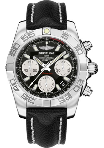 Breitling Watches - Chronomat 41 Steel Polished Bezel - Sahara Leather Strap - Style No: AB014012/BA52-sahara-black-tang