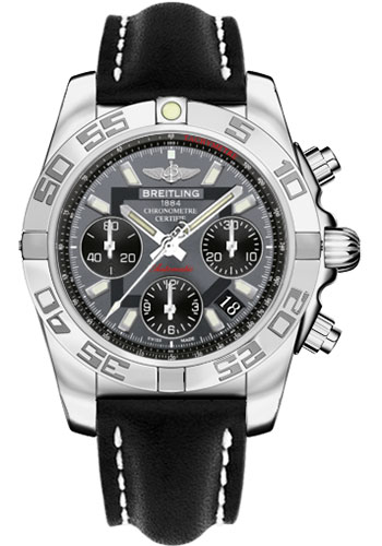 Breitling Watches - Chronomat 41 Steel Polished Bezel - Leather Strap - Tang - Style No: AB014012/F554-leather-black-tang