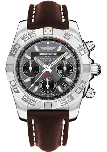 Breitling Watches - Chronomat 41 Steel Polished Bezel - Leather Strap - Tang - Style No: AB014012/F554-leather-brown-tang