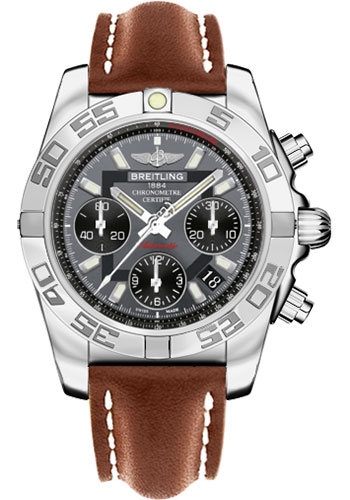 Breitling Watches - Chronomat 41 Steel Polished Bezel - Leather Strap - Tang - Style No: AB014012/F554-leather-gold-tang