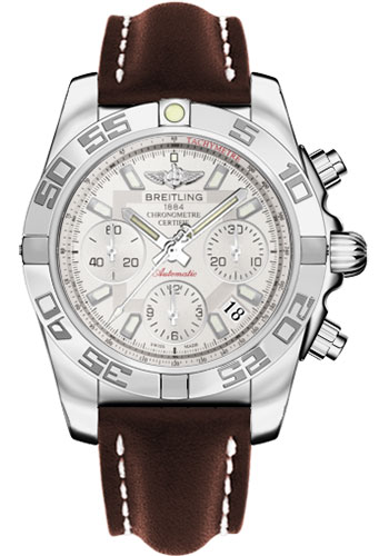 Breitling Watches - Chronomat 41 Steel Polished Bezel - Leather Strap - Tang - Style No: AB014012/G711-leather-brown-tang