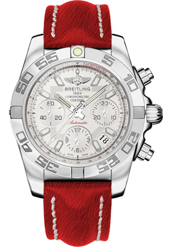 Breitling Watches - Chronomat 41 Steel Polished Bezel - Sahara Leather Strap - Style No: AB014012/G711-sahara-red-tang