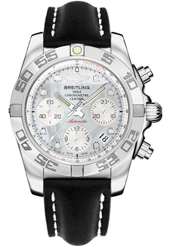 Breitling Watches - Chronomat 41 Steel Polished Bezel - Leather Strap - Tang - Style No: AB014012/G712-leather-black-tang