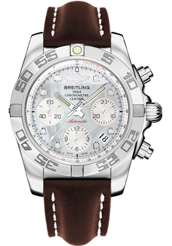 Breitling Watches - Chronomat 41 Steel Polished Bezel - Leather Strap - Tang - Style No: AB014012/G712-leather-brown-tang