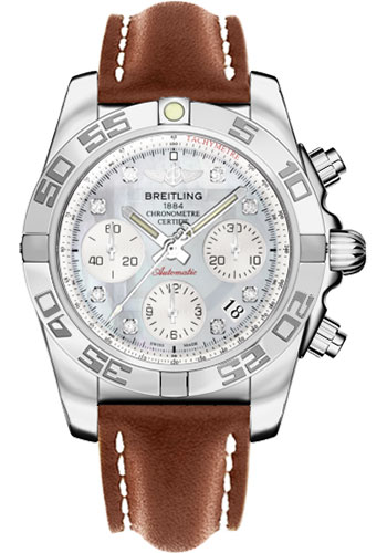 Breitling Watches - Chronomat 41 Steel Polished Bezel - Leather Strap - Tang - Style No: AB014012/G712-leather-gold-tang