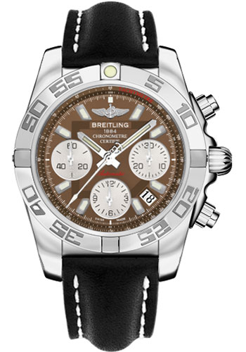 Breitling Watches - Chronomat 41 Steel Polished Bezel - Leather Strap - Tang - Style No: AB014012/Q583-leather-black-tang