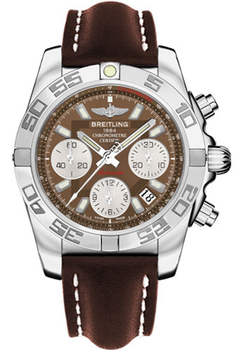 Breitling Watches - Chronomat 41 Steel Polished Bezel - Leather Strap - Tang - Style No: AB014012/Q583-leather-brown-tang