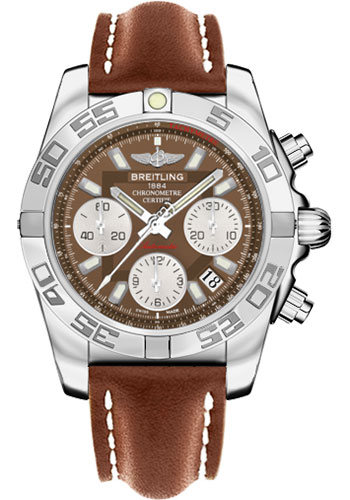 Breitling Watches - Chronomat 41 Steel Polished Bezel - Leather Strap - Tang - Style No: AB014012/Q583-leather-gold-tang