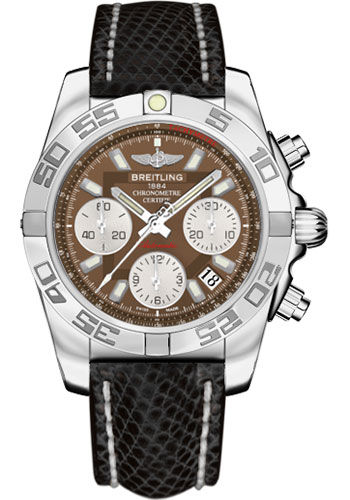 Breitling Watches - Chronomat 41 Steel Polished Bezel - Lizard Strap - Tang - Style No: AB014012/Q583-lizard-black-tang