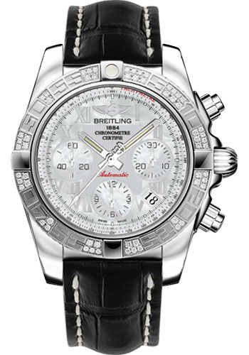 Breitling Watches - Chronomat 41 Steel Diamond Bezel - Croco Strap - Deployant - Style No: AB0140AA/A746-croco-black-deployant