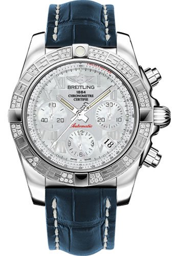 Breitling Watches - Chronomat 41 Steel Diamond Bezel - Croco Strap - Deployant - Style No: AB0140AA/A746-croco-blue-deployant