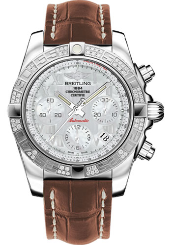Breitling Watches - Chronomat 41 Steel Diamond Bezel - Croco Strap - Deployant - Style No: AB0140AA/A746-croco-gold-deployant