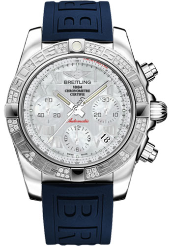 Breitling Watches - Chronomat 41 Steel Diamond Bezel - Diver Pro III Strap - Tang - Style No: AB0140AA/A746-diver-pro-iii-blue-tang