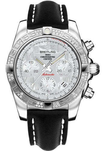 Breitling Watches - Chronomat 41 Steel Diamond Bezel - Leather Strap - Tang - Style No: AB0140AA/A746-leather-black-tang