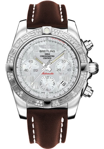 Breitling Watches - Chronomat 41 Steel Diamond Bezel - Leather Strap - Tang - Style No: AB0140AA/A746-leather-brown-tang