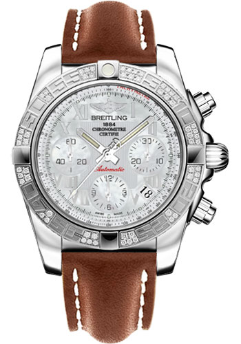 Breitling Watches - Chronomat 41 Steel Diamond Bezel - Leather Strap - Tang - Style No: AB0140AA/A746-leather-gold-tang