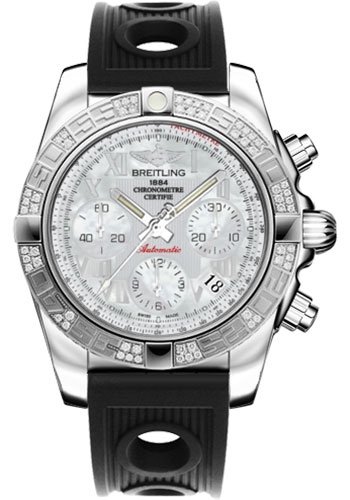 Breitling Watches - Chronomat 41 Steel Diamond Bezel - Ocean Racer Strap - Style No: AB0140AA/A746-ocean-racer-black-deployant