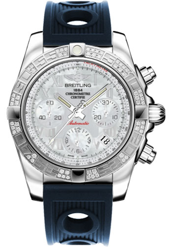 Breitling Watches - Chronomat 41 Steel Diamond Bezel - Ocean Racer Strap - Style No: AB0140AA/A746-ocean-racer-blue-deployant