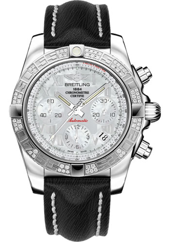 Breitling Watches - Chronomat 41 Steel Diamond Bezel - Sahara Leather Strap - Style No: AB0140AA/A746-sahara-black-tang