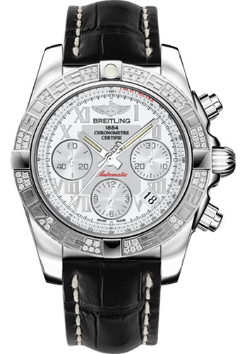 Breitling Watches - Chronomat 41 Steel Diamond Bezel - Croco Strap - Deployant - Style No: AB0140AA/A747-croco-black-deployant