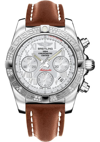 Breitling Watches - Chronomat 41 Steel Diamond Bezel - Leather Strap - Tang - Style No: AB0140AA/A747-leather-gold-tang