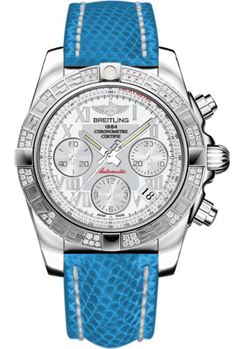 Breitling Watches - Chronomat 41 Steel Diamond Bezel - Lizard Strap - Deployant - Style No: AB0140AA/A747-lizard-blue-deployant