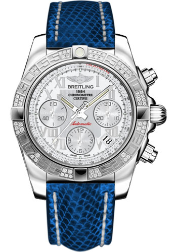 Breitling Watches - Chronomat 41 Steel Diamond Bezel - Lizard Strap - Tang - Style No: AB0140AA/A747-lizard-blue-marine-tang
