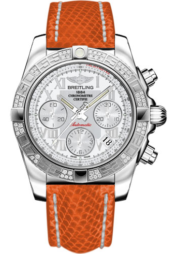 Breitling Watches - Chronomat 41 Steel Diamond Bezel - Lizard Strap - Deployant - Style No: AB0140AA/A747-lizard-orange-deployant