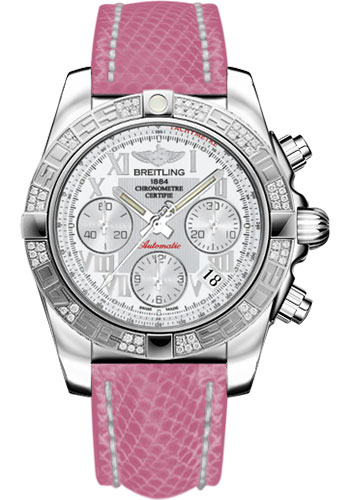 Breitling Watches - Chronomat 41 Steel Diamond Bezel - Lizard Strap - Deployant - Style No: AB0140AA/A747-lizard-rose-deployant