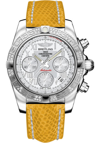 Breitling Watches - Chronomat 41 Steel Diamond Bezel - Lizard Strap - Deployant - Style No: AB0140AA/A747-lizard-yellow-deployant