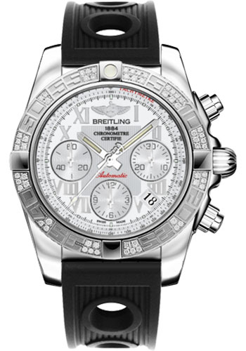 Breitling Watches - Chronomat 41 Steel Diamond Bezel - Ocean Racer Strap - Style No: AB0140AA/A747-ocean-racer-black-deployant