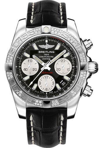 Breitling Watches - Chronomat 41 Steel Diamond Bezel - Croco Strap - Deployant - Style No: AB0140AA/BA52-croco-black-folding