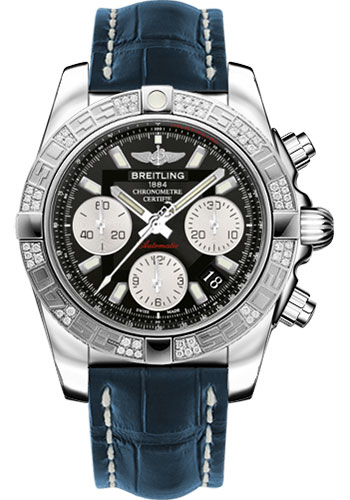 Breitling Watches - Chronomat 41 Steel Diamond Bezel - Croco Strap - Deployant - Style No: AB0140AA/BA52-croco-blue-folding