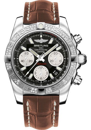 Breitling Watches - Chronomat 41 Steel Diamond Bezel - Croco Strap - Deployant - Style No: AB0140AA/BA52-croco-gold-folding