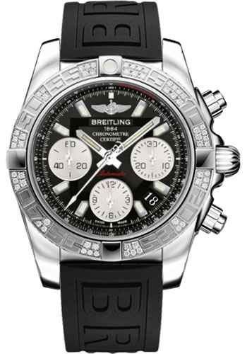 Breitling Watches - Chronomat 41 Steel Diamond Bezel - Diver Pro III Strap - Tang - Style No: AB0140AA/BA52-diver-pro-iii-black-tang