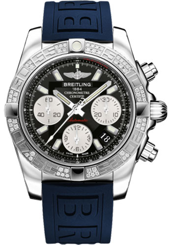 Breitling Watches - Chronomat 41 Steel Diamond Bezel - Diver Pro III Strap - Tang - Style No: AB0140AA/BA52-diver-pro-iii-blue-tang