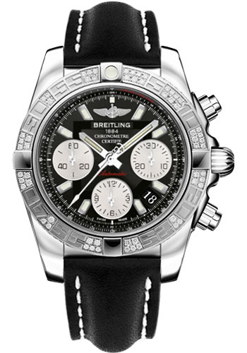Breitling Watches - Chronomat 41 Steel Diamond Bezel - Leather Strap - Tang - Style No: AB0140AA/BA52-leather-black-tang