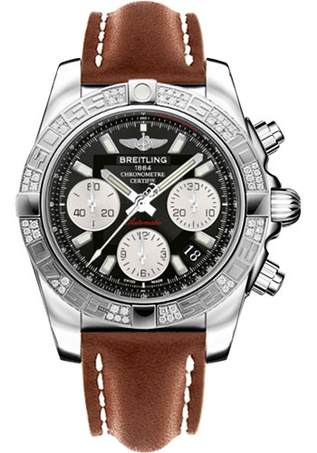 Breitling Watches - Chronomat 41 Steel Diamond Bezel - Leather Strap - Tang - Style No: AB0140AA/BA52-leather-gold-tang