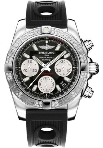 Breitling Watches - Chronomat 41 Steel Diamond Bezel - Ocean Racer Strap - Style No: AB0140AA/BA52-ocean-racer-black-folding