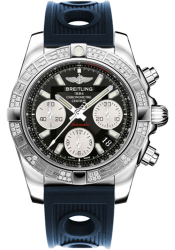Breitling Watches - Chronomat 41 Steel Diamond Bezel - Ocean Racer Strap - Style No: AB0140AA/BA52-ocean-racer-blue-folding