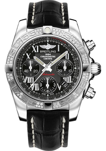 Breitling Watches - Chronomat 41 Steel Diamond Bezel - Croco Strap - Deployant - Style No: AB0140AA/BC04-croco-black-deployant