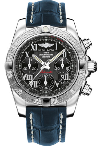 Breitling Watches - Chronomat 41 Steel Diamond Bezel - Croco Strap - Deployant - Style No: AB0140AA/BC04-croco-blue-deployant