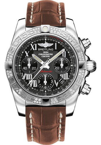 Breitling Watches - Chronomat 41 Steel Diamond Bezel - Croco Strap - Deployant - Style No: AB0140AA/BC04-croco-gold-deployant