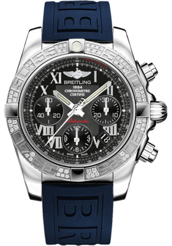 Breitling Watches - Chronomat 41 Steel Diamond Bezel - Diver Pro III Strap - Deployant - Style No: AB0140AA/BC04-diver-pro-iii-blue-deployant