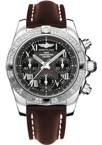 Breitling Watches - Chronomat 41 Steel Diamond Bezel - Leather Strap - Tang - Style No: AB0140AA/BC04-leather-brown-tang