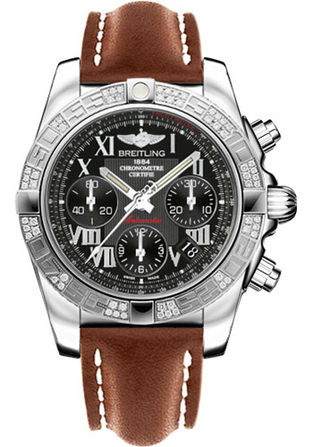 Breitling Watches - Chronomat 41 Steel Diamond Bezel - Leather Strap - Tang - Style No: AB0140AA/BC04-leather-gold-tang