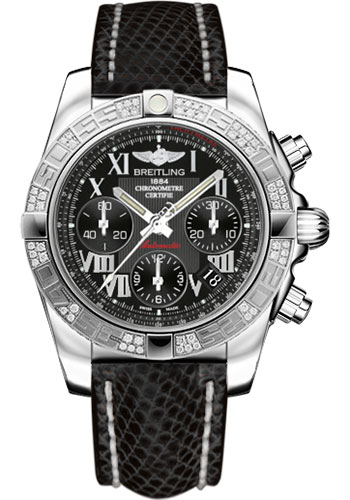 Breitling Watches - Chronomat 41 Steel Diamond Bezel - Lizard Strap - Tang - Style No: AB0140AA/BC04-lizard-black-tang