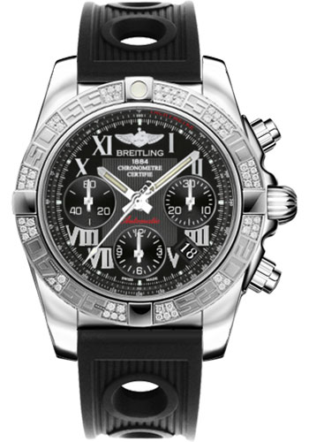 Breitling Watches - Chronomat 41 Steel Diamond Bezel - Ocean Racer Strap - Style No: AB0140AA/BC04-ocean-racer-black-deployant